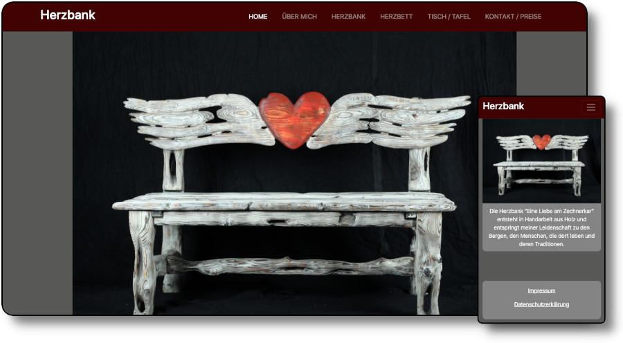 Demoansicht der Website herzbank.art Desktop und Mobil