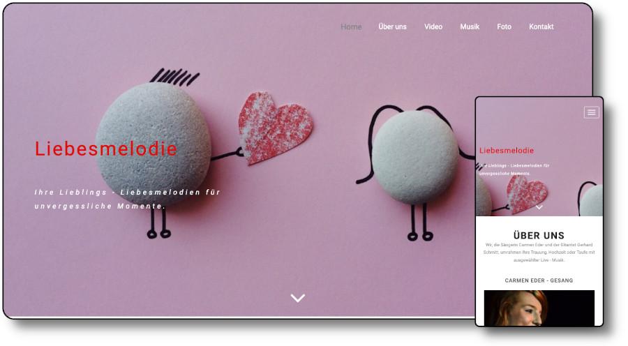 Demoansicht der Website Liebesmelodie.de Desktop und Mobil