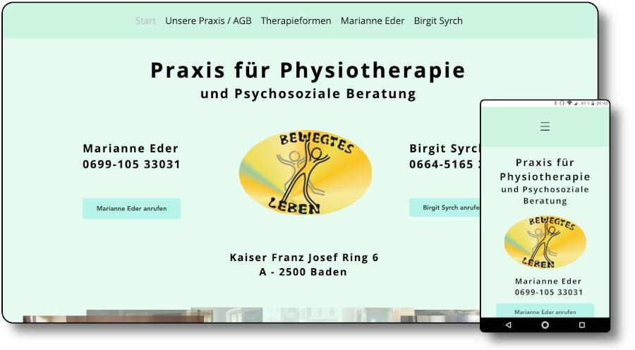 Demoansicht der Website physiopraxis-baden.at Desktop und Mobil