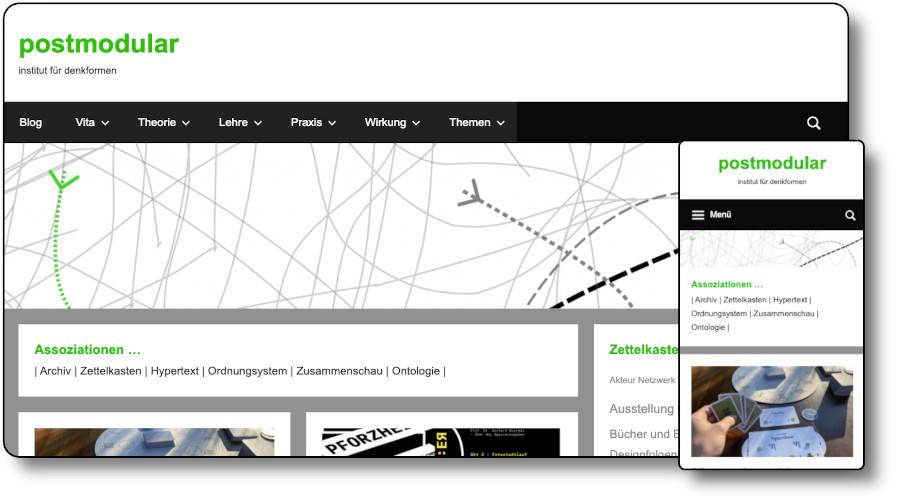 Demoansicht der Website postmodular.de Desktop und Mobil