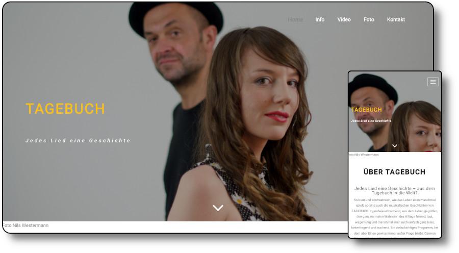 Demoansicht der Website tagebuch-musik.de Desktop und Mobil