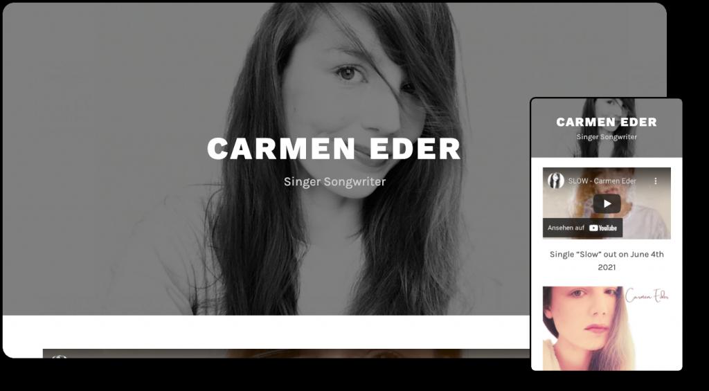 Demoansicht von Carmen Eders Website