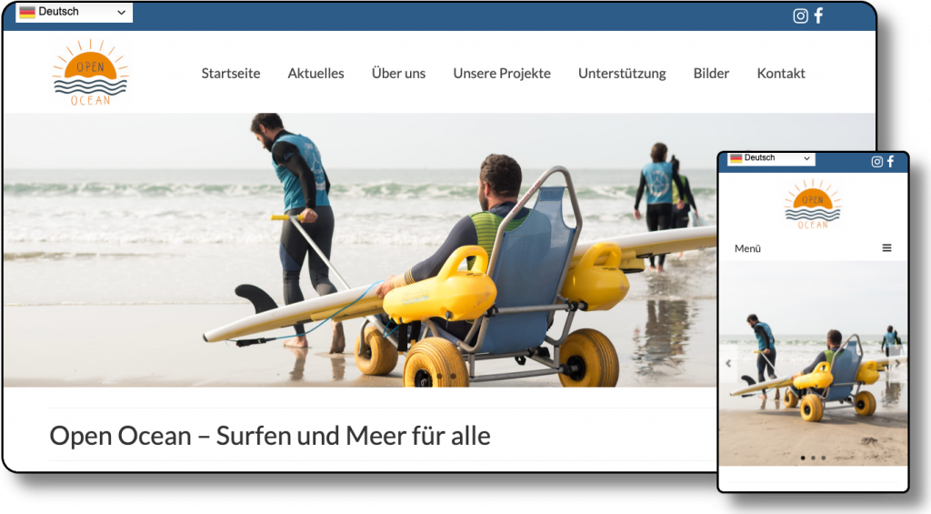 Demoansicht der Website open-ocean.info Desktop und Mobil